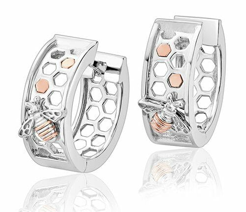 Clogau Sterling Silver & 9ct Rose Gold Honey Bee Honeycomb Creole Hoop Earrings 3SHNBCRE