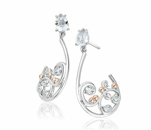 Clogau Sterling Silver & 9ct Rose Gold St Govans Cove White Topaz Drop Earrings 3SSTGCE