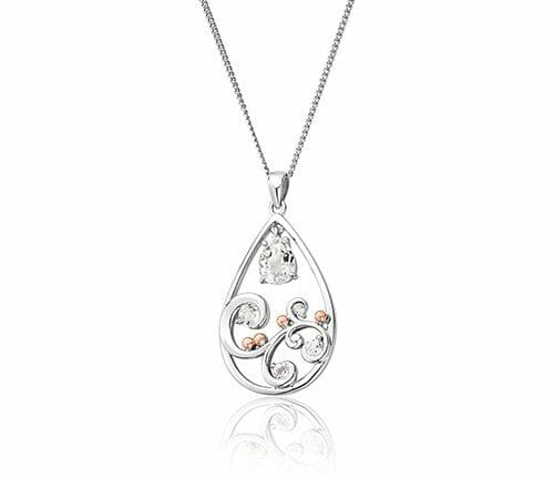 Clogau Sterling Silver & 9ct Rose Gold St Govans Cove White Topaz Pendant 3SSTGCP