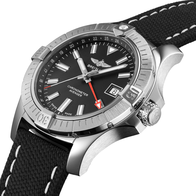 Breitling Avenger Automatic GMT Steel Black Dial 43mm A32397101B1X1 Angle