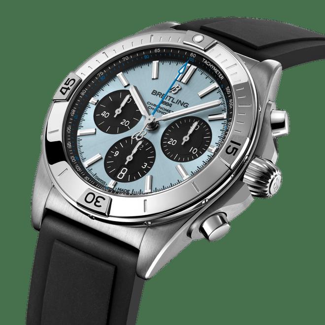 Breitling Chronomat B01 Chronograph Steel & Platinum Ice Blue Dial 42mm PB0134101C1S1 Angle