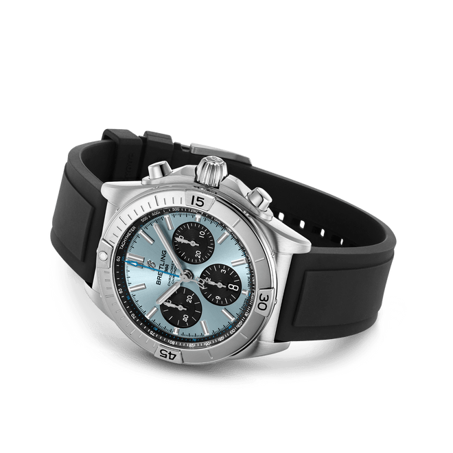 Breitling Chronomat B01 Chronograph Steel & Platinum Ice Blue Dial 42mm PB0134101C1S1 Side