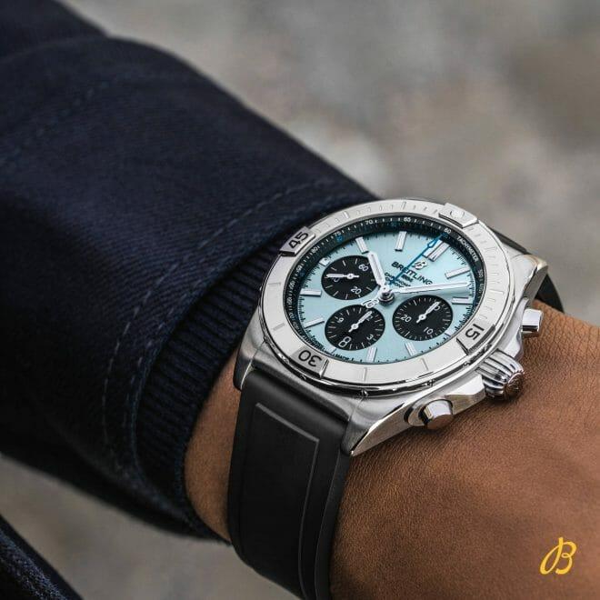 Breitling Chronomat B01 Chronograph Steel & Platinum Ice Blue Dial 42mm PB0134101C1S1 Wrist Shot