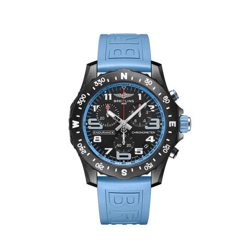 Breitling Endurance Pro SuperQuartz Chronograph Breitlight Black Dial & Light Blue Rubber Strap 44mm X82310281B1S1