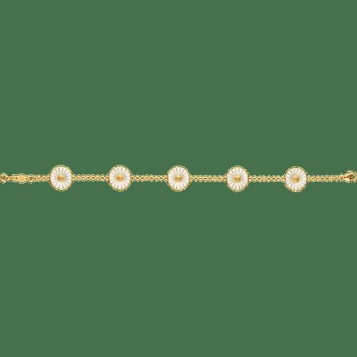Georg Jensen Gold Plated Sterling Silver & White Enamel Daisy Bracelet 3530912