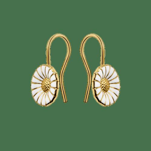 Georg Jensen Gold Plated Sterling Silver & White Enamel Daisy Drop Earrings 3539222