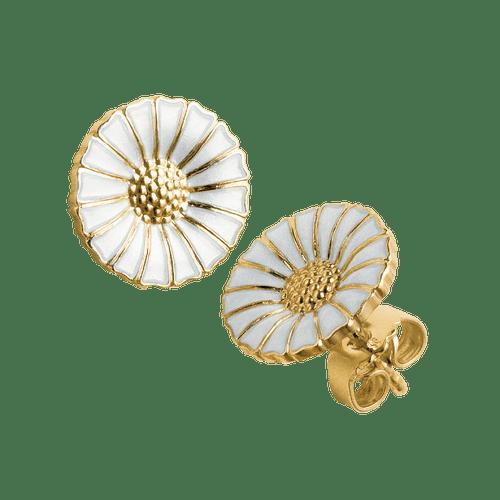 Georg Jensen Gold Plated Sterling Silver & White Enamel Daisy Stud Earrings 3539207