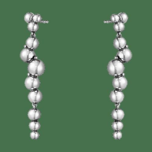 Georg Jensen Sterling Silver Moonlight Grapes Long Drop Earrings 10019040