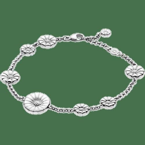 Georg Jensen Sterling Silver & White Enamel Daisy Bracelet 3530960