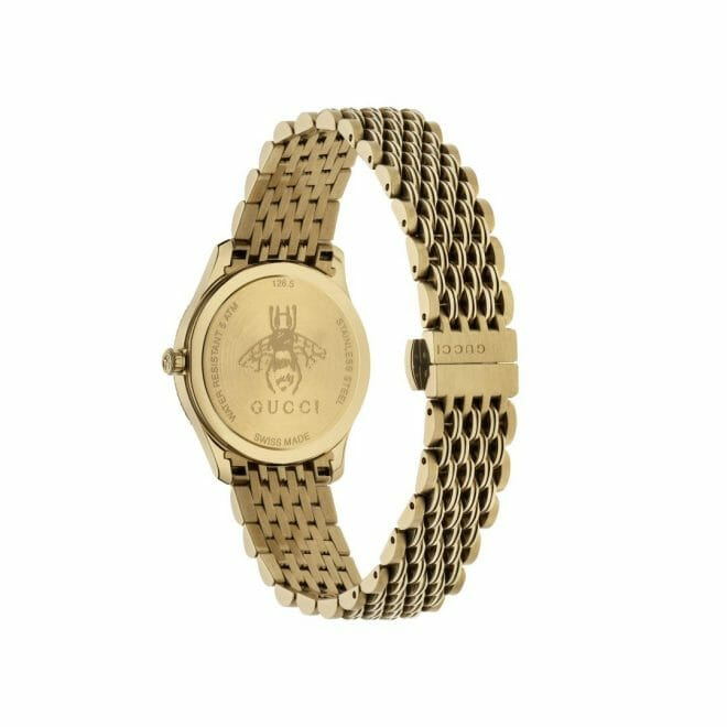 Gucci G-Timeless Gold PVD Coated Silver Bee Dial 29mm YA1265021 Caseback