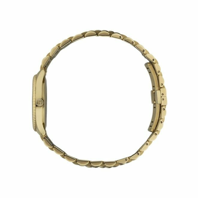 Gucci G-Timeless Gold PVD Coated Silver Bee Dial 29mm YA1265021 Profile