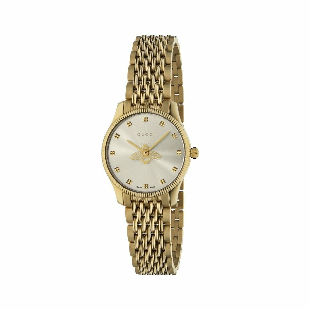 Gucci G-Timeless Gold PVD Coated Silver Bee Dial 29mm YA1265021