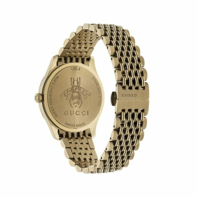 Gucci G-Timeless Gold PVD Coated Silver Bee Dial 36mm YA1264155 Caseback