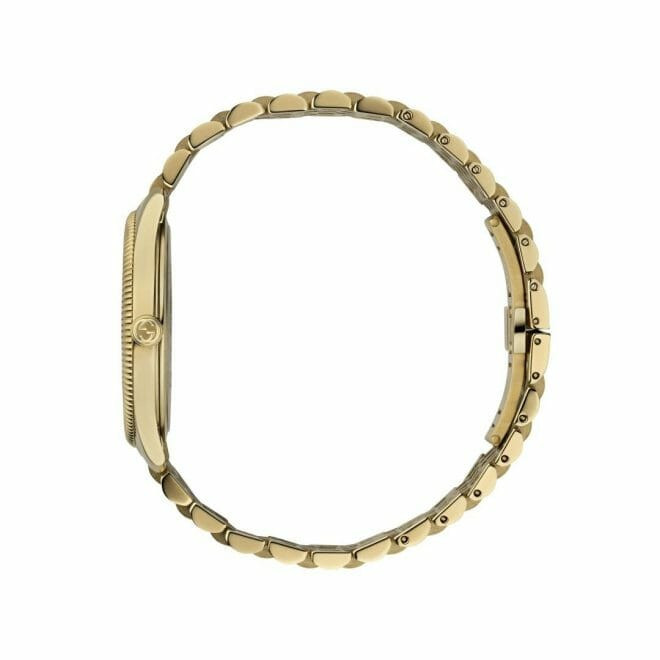 Gucci G-Timeless Gold PVD Coated Silver Bee Dial 36mm YA1264155 Profile