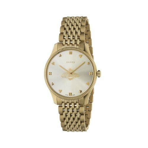 Gucci G-Timeless Gold PVD Coated Silver Bee Dial 36mm YA1264155