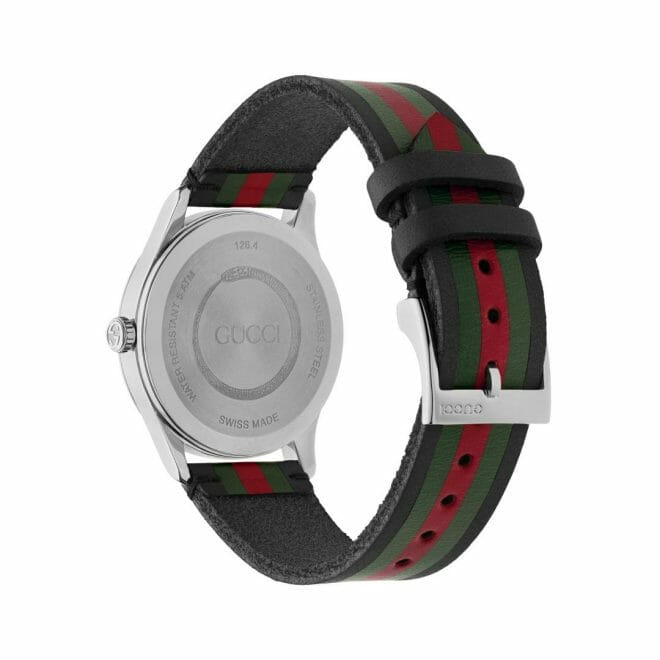 Gucci G-Timeless Stainless Steel Black, Green & Red Striped Dial 42mm YA1264079 Caseback