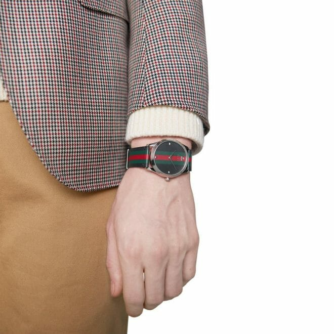 Gucci G-Timeless Stainless Steel Black, Green & Red Striped Dial 42mm YA1264079 Model Shot