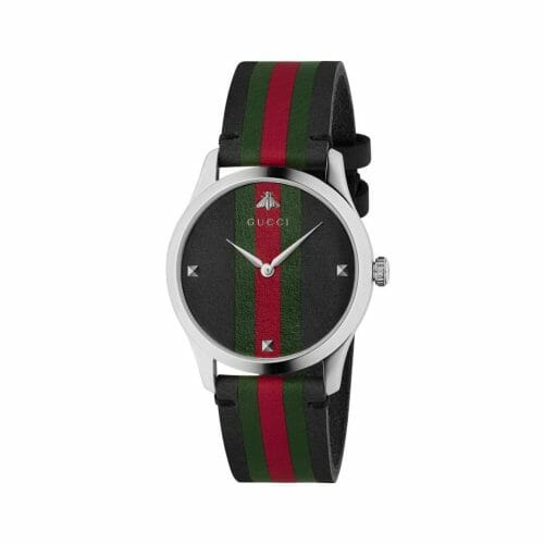 Gucci G-Timeless Stainless Steel Black, Green & Red Striped Dial 42mm YA1264079