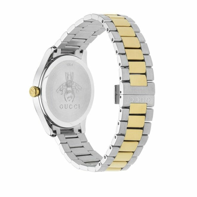 Gucci G-Timeless Stainless Steel & Gold PVD Coated Silver Feline Dial 38mm YA1264074 Caseback