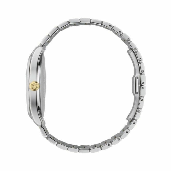 Gucci G-Timeless Stainless Steel & Gold PVD Coated Silver Feline Dial 38mm YA1264074 Profile