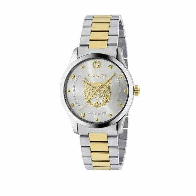 Gucci G-Timeless Stainless Steel & Gold PVD Coated Silver Feline Dial 38mm YA1264074