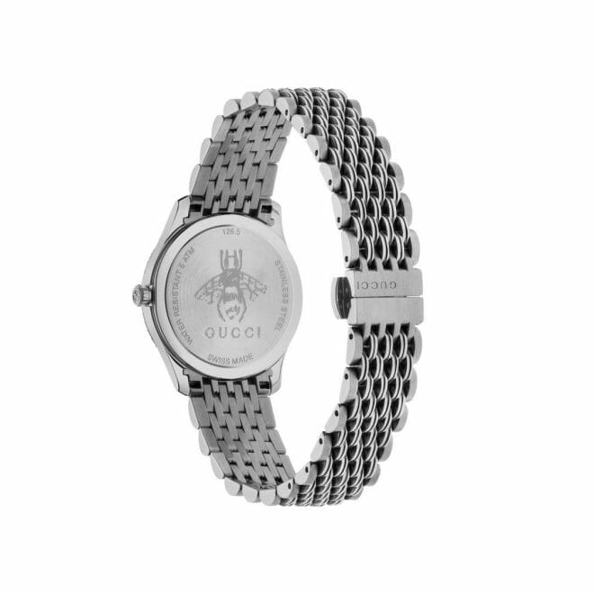 Gucci G-Timeless Stainless Steel Silver Bee Dial 29mm YA1265019 Caseback