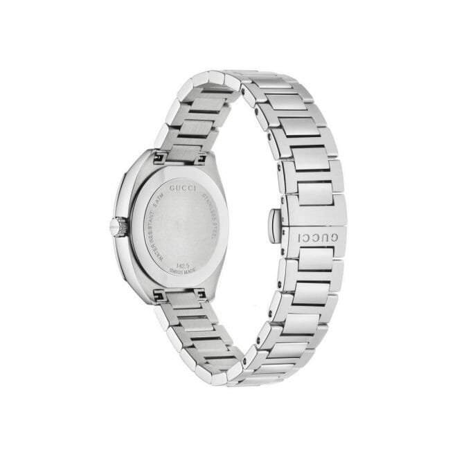 Gucci GG2570 Stainless Steel Black Diamond Dot Dial 29mm YA142503 Caseback