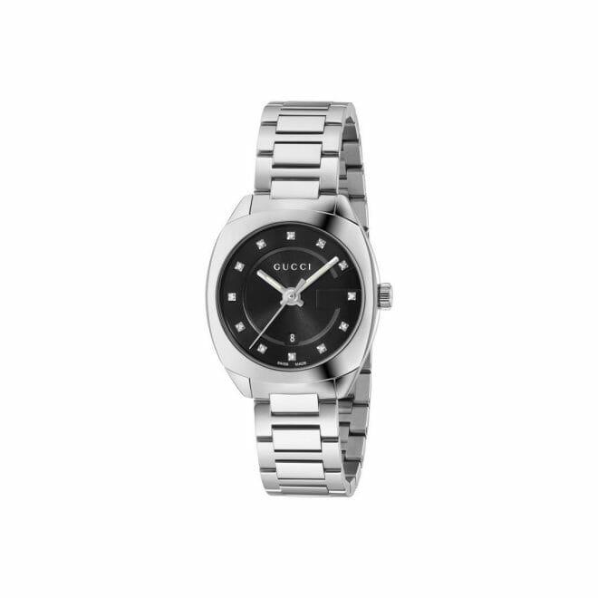 Gucci GG2570 Stainless Steel Black Diamond Dot Dial 29mm YA142503