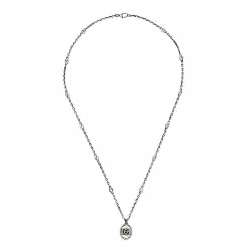 Gucci Sterling Silver GG Marmont GG Icon Pendant & Chain 70cm YBB63254000100U