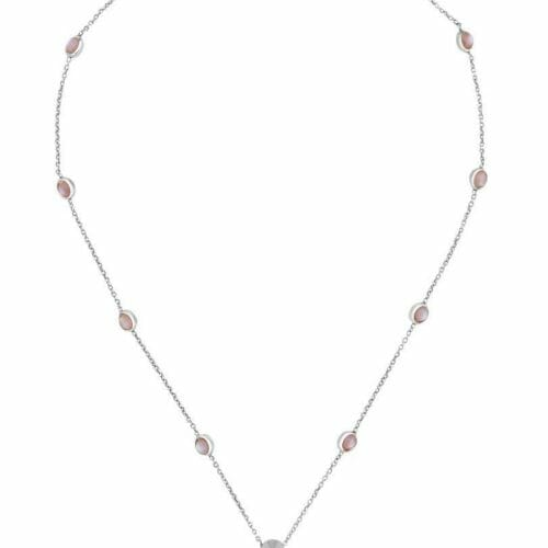 Gucci Sterling Silver GG Marmont Pink Mother of Pearl 42cm Necklace YBB52739900200U