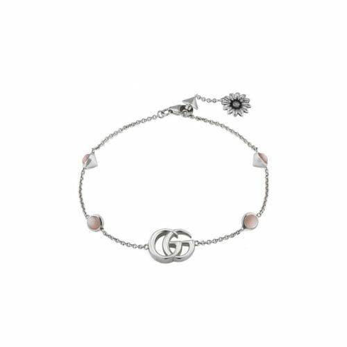 Gucci Sterling Silver GG Marmont Pink Mother of Pearl Flower Bracelet YBA527393002017