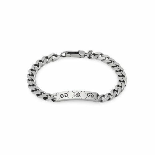 Gucci Sterling Silver Gucci Ghost ID Curb Bracelet YBA455321001