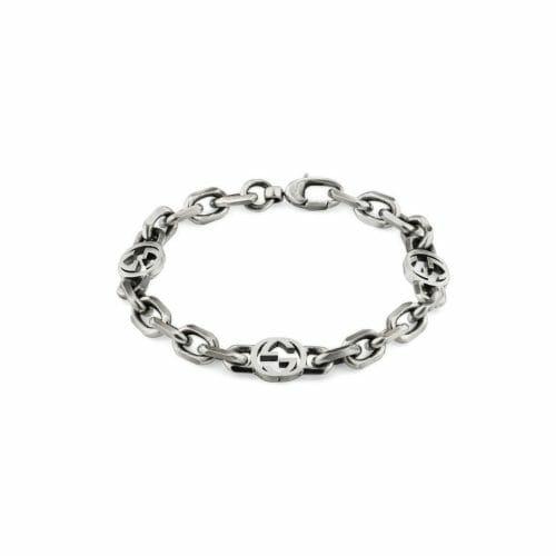 Gucci Sterling Silver Interlocking G Filed Curb Bracelet YBA620798001