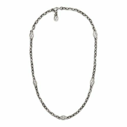 Gucci Sterling Silver Interlocking G Necklace 60cm YBB61694100100U