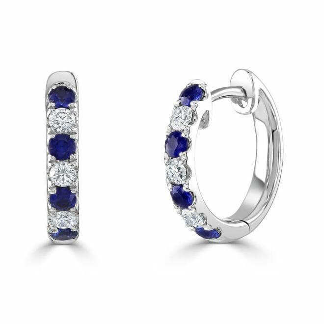 18ct White Gold Round Brilliant Sapphire & Diamond Hoop Earrings DE1337