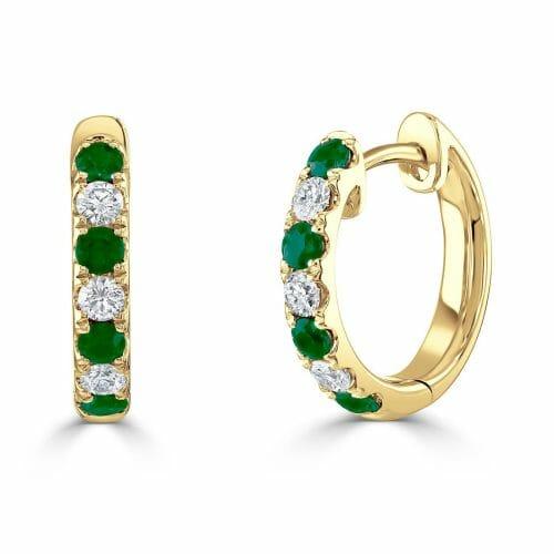 18ct Yellow Gold Round Brilliant Emerald & Diamond Hoop Earrings DE1337 E