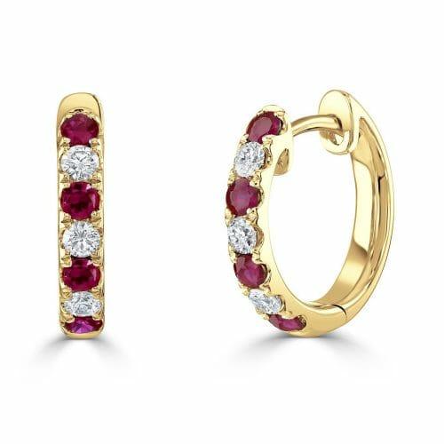 18ct Yellow Gold Round Brilliant Ruby & Diamond Hoop Earrings DE1337 R