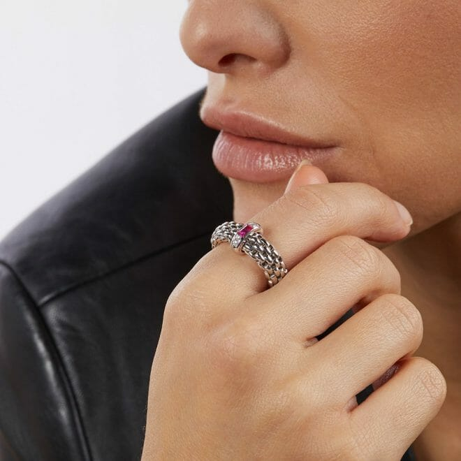 Fope 18ct White Gold Vendôme Ruby & Diamond Flex'It Ring AN583 BRUB Model Shot