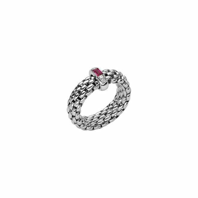 Fope 18ct White Gold Vendôme Ruby & Diamond Flex'It Ring AN583 BRUB