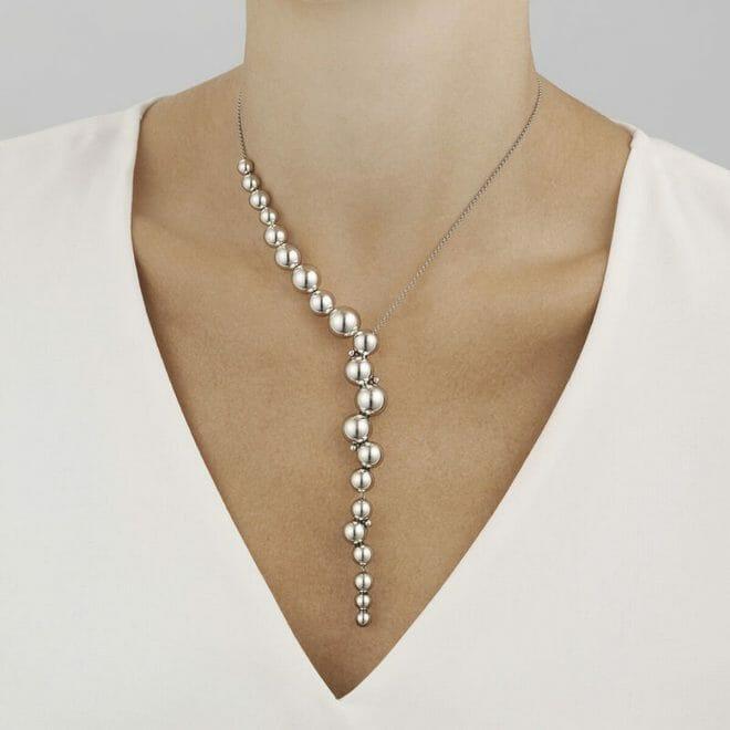 Georg Jensen Sterling Silver Moonlight Grapes Offset Necklace 10019041 Model Shot