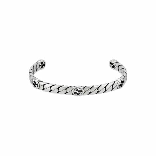 Gucci Sterling Silver Interlocking G 5 Logo 6mm Open Bangle YBA661526001