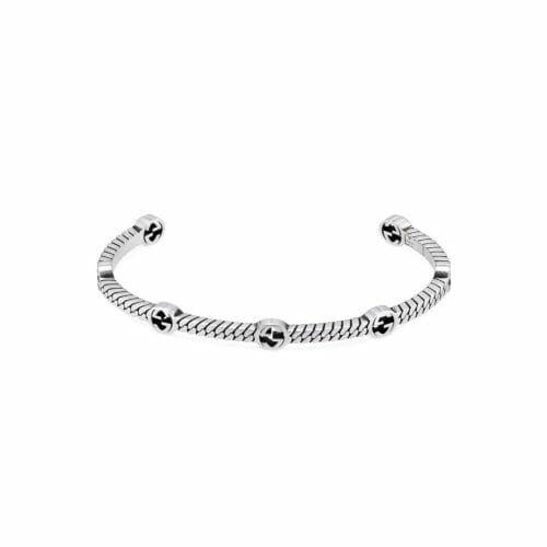 Gucci Sterling Silver Interlocking G 7 Logo 3mm Open Bangle YBA661529001