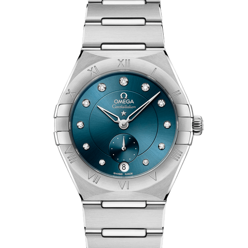OMEGA Constellation Manhattan Small Seconds Co-Axial Master Chronometer Diamond Dot Blue Dial 34mm 131.10.34.20.53.001