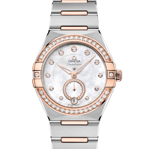 OMEGA Constellation Manhattan Small Seconds Co-Axial Master Chronometer Steel & 18ct Rose Gold Diamond Bezel Diamond Dot Mother of Pearl Dial 34mm 131.25.34.20.55.001