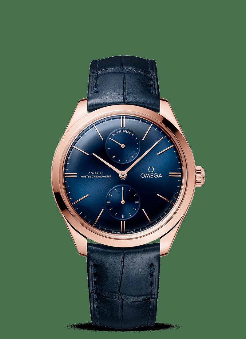 OMEGA De Ville Tresor Power Reserve Co-Axial Master Chronometer Manual Wind 18ct Sedna Rose Gold Blue Dial 40mm 435.53.40.22.03.001