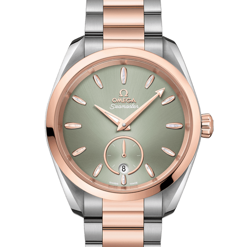 OMEGA Seamaster Aqua Terra Small Seconds Co-Axial Master Chronometer Steel & 18ct Rose Gold Green Dial 38mm 220.20.38.20.10.001