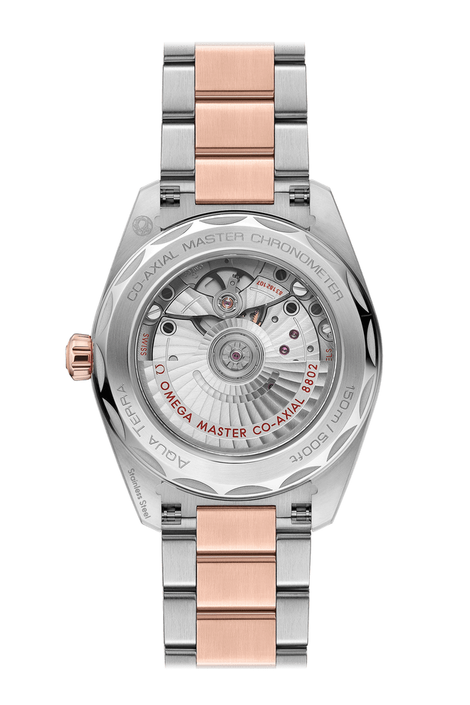 OMEGA Seamaster Aqua Terra Small Seconds Co-Axial Master Chronometer Steel & 18ct Rose Gold Mother of Pearl Diamond Dot Dial 38mm 220.20.38.20.55.002 Caseback