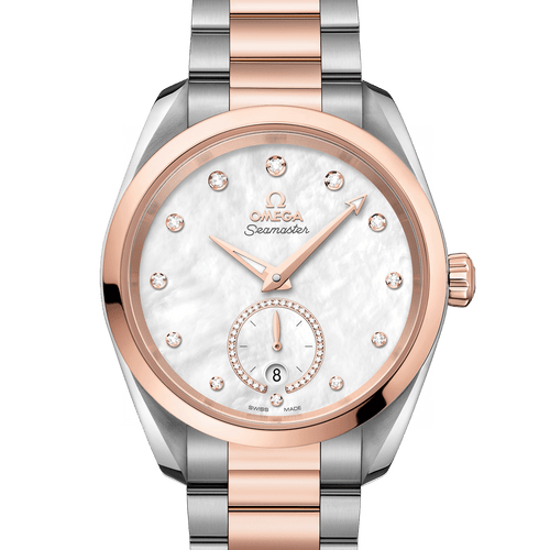 OMEGA Seamaster Aqua Terra Small Seconds Co-Axial Master Chronometer Steel & 18ct Rose Gold Mother of Pearl Diamond Dot Dial 38mm 220.20.38.20.55.002