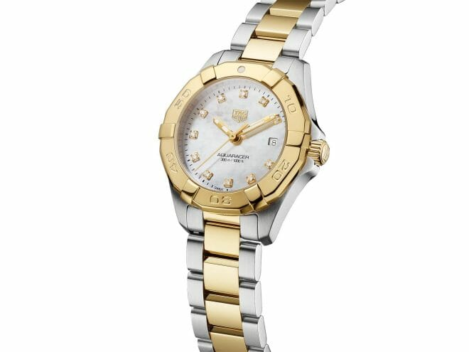 TAG Heuer Aquaracer Quartz Steel & Gold Plated Diamond Dot Mother of Pearl Dial 27mm WBD1422.BB0321 Angle