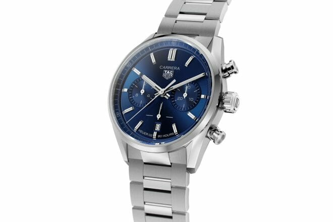 TAG Heuer Carrera Heuer 02 Chronograph Steel Blue Dial 42mm CBN2011.BA0642 Angle